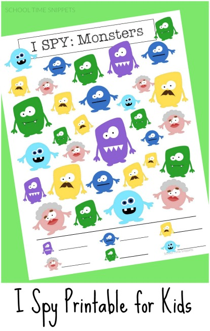 graphic regarding I Spy Printable named Monsters I SPY Totally free Printable Faculty Year Snippets