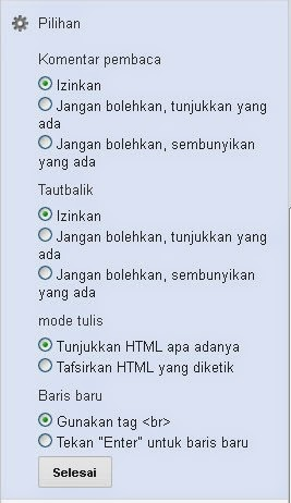 Pilihan untuk iznkan komentar pengunjung blog
