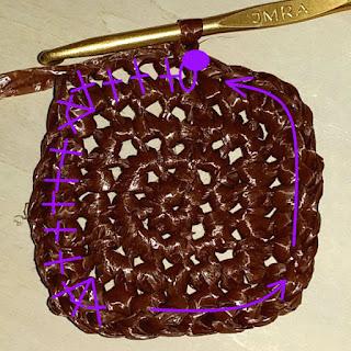 四角いシンプルモチーフの編み方, how to crochet a squair granny, 四角形的简单钩针图案,