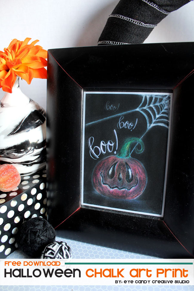 halloween art print, chalk art, boo, halloween decor, hand lettering