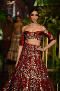 Deepika Padukone in Red Chania Choli Exposing her Cute Cleavages for Manish Malhotra at the India Couture Week 2016