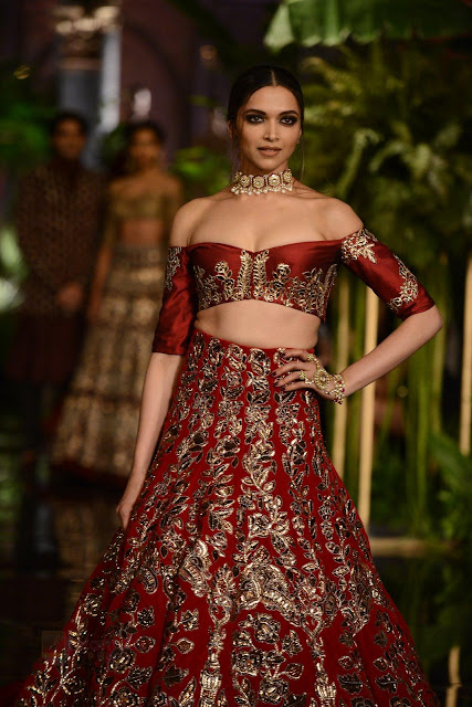 Deepika Padukone in Red Chania Choli Exposing her Cute  for Manish Malra at the India Couture Week 2016