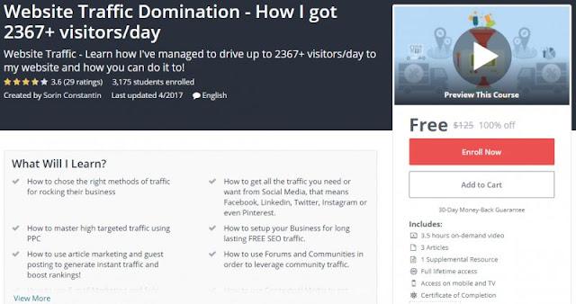 [100% Off] Website Traffic Domination - How I got 2367+ visitors/day| Worth 125$