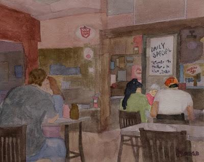 Watercolor - Threadgills Restaurant - John Keese