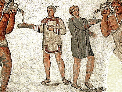 Roman slaves filling bowls with wine
