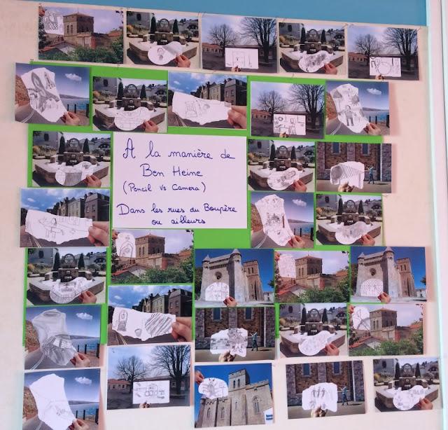 Réalisation et exposition d'images Pencil Vs Camera inspirées de Ben Heine à l'Ecole Sainte Marie le Boupère (France)