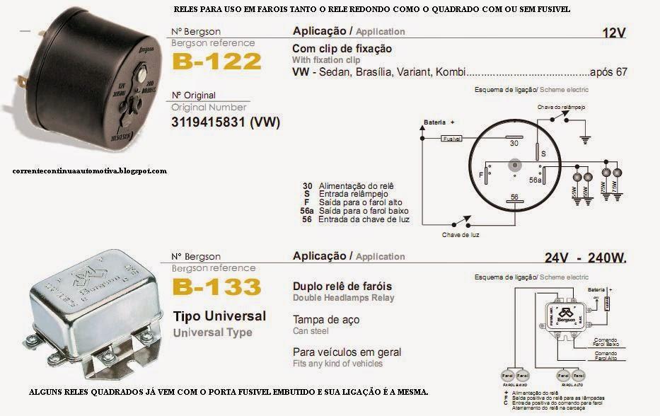 d2c0a600088 Eletricidade VW Fusca   Esquema ligação relé do farol do fusca e ...