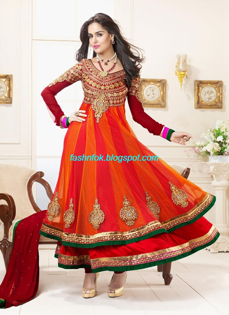 Fashion fok indian anarkali umbrella wedding brides for Punjabi wedding dresses online