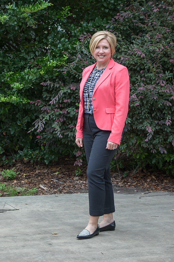 black and white outfit, coral blazer, summer work wear, ankle pants