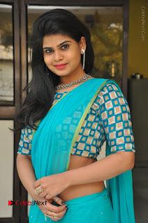 Telugu Actress Alekhya Stills in Green Saree at Swachh Hyderabad Cricket Press Meet  0002.JPG