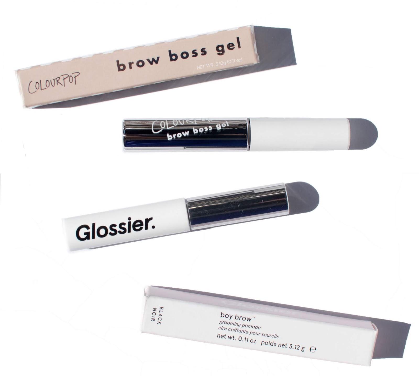 colourpop brow boss gel vs glossier boy brow comparison swatches