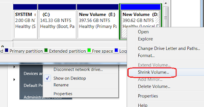 Create New Partition on Harddrive in Windows 7