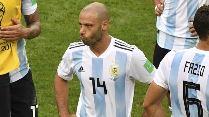 Javier Mascherano stands dejected as he announces Argentina retirement after World Cup exit