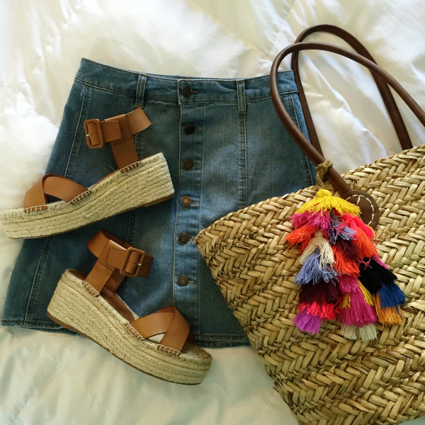denim skirt, espadrilles