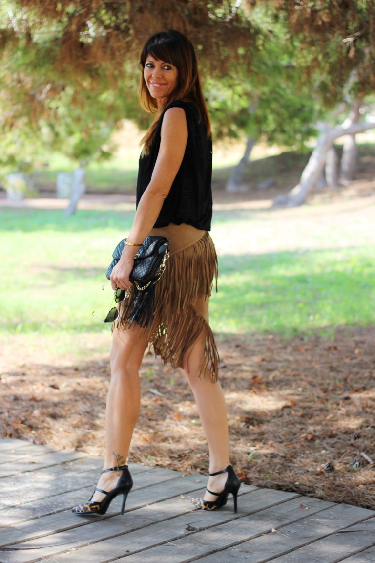Falda flecos, Stilettos animal print, fashion blogger, streetstyle,