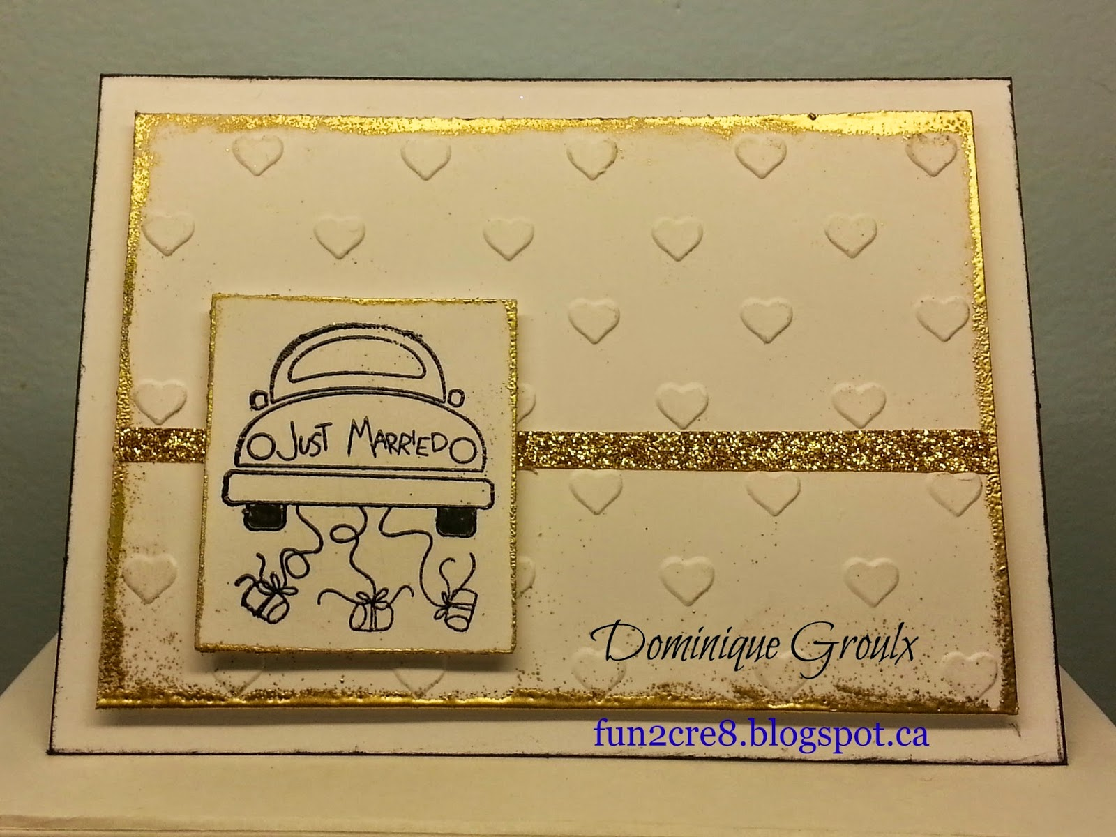 white and gold wedding card by fun2cre8.blogspot.ca