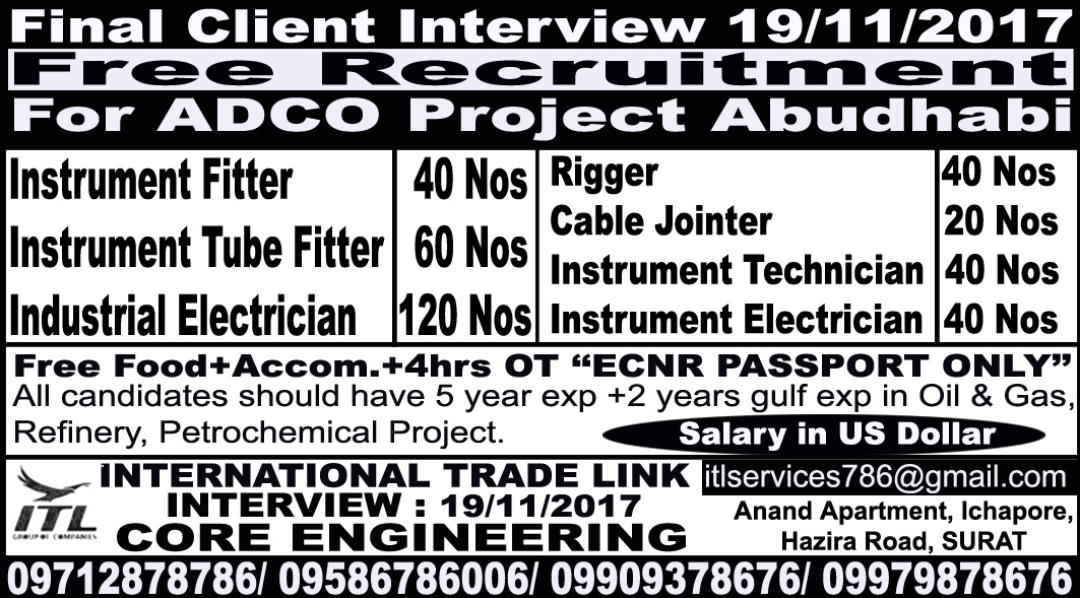Oil and gas job vacancies: ADCO-ABUDHABI - INSTRUMENT TECHNICIAN