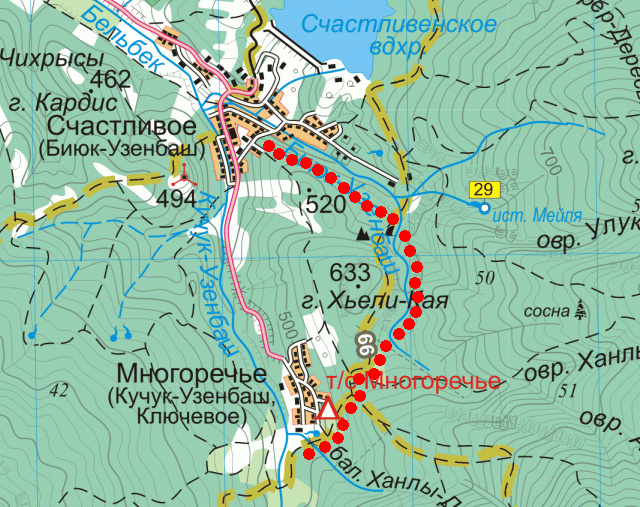 Карта маршрута через каньон