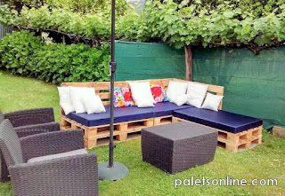 Jardin europalets colchoneta azul mueblesconpalets.com