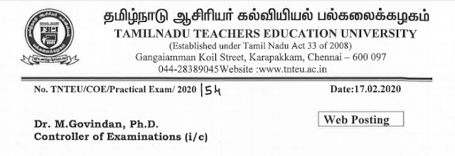 B.Ed. Second Year Practical Examination Schedule - Feb 2020