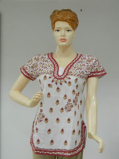 Lucknowi Chikan White Red Cotton Tunic