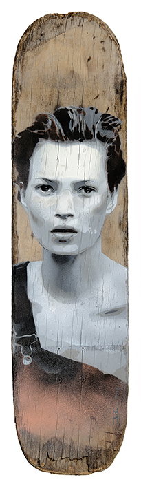Skateboard artwork of Kate Moss by artist James Straffon