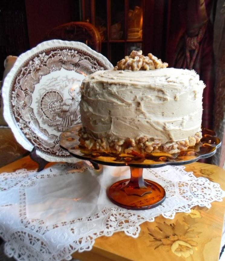 Maple Walnut Cake W/ Candied Walnuts