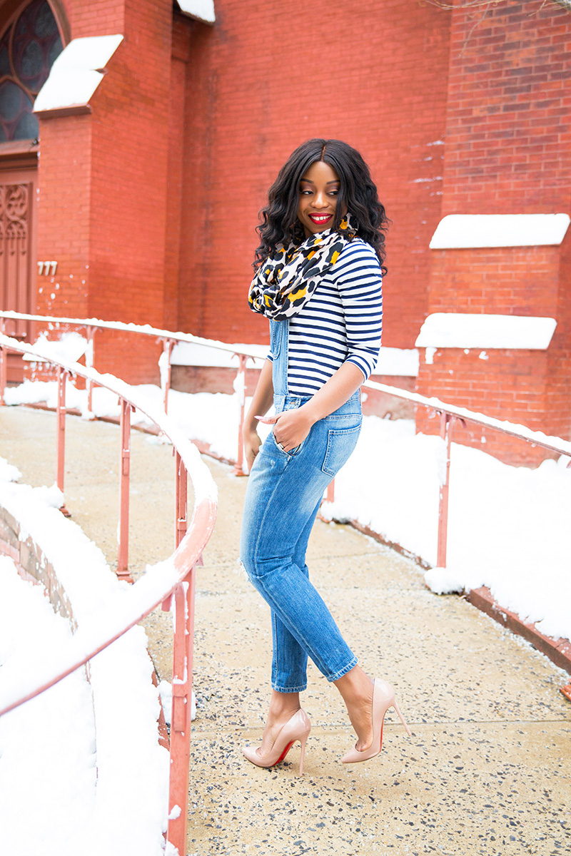 denim overall, jcrew stripes top, leopard scarf, DC style, www.jadore-fashion.com