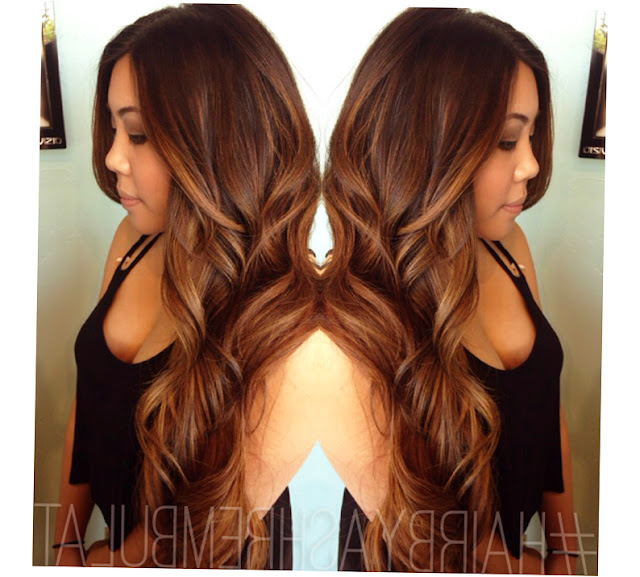 Balayage Highlights Dark Hair Caramel Pic