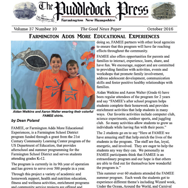 The October Issue of the Puddledock Press is Now Available