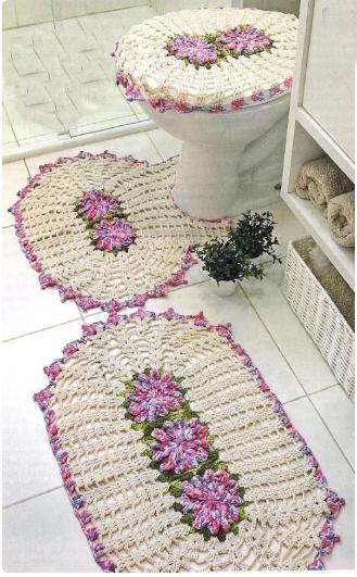Le gatte coi tacchi schemi tappeti per il bagno e coprivaso all 39 uncinetto - Set tappeti per bagno ...