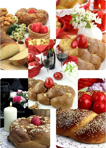 Easter bread, traditional table with red eggs and shortbread cookies - Stock photo