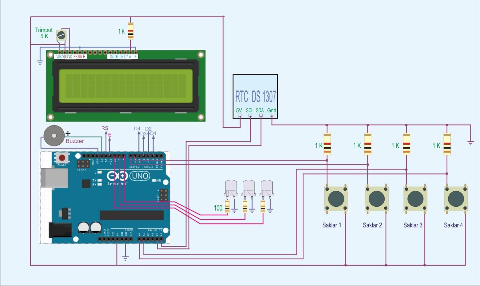 Dalam membuat Jam beker yang kita perlukan adalah     Modul RTC Ds 1307    Mikrokontroller Arduino Uno   Lcd 16x2 Karakter 92a051b24f