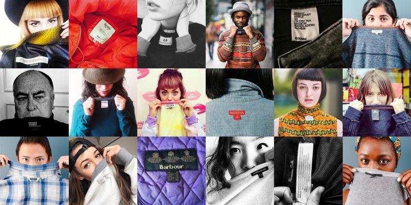 várias pessoas mostram as etiquetas da sua roupa