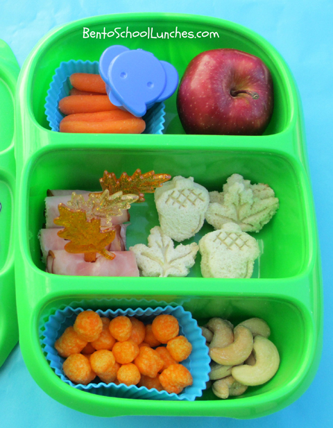 Fall leaves and acorns bento school lunches