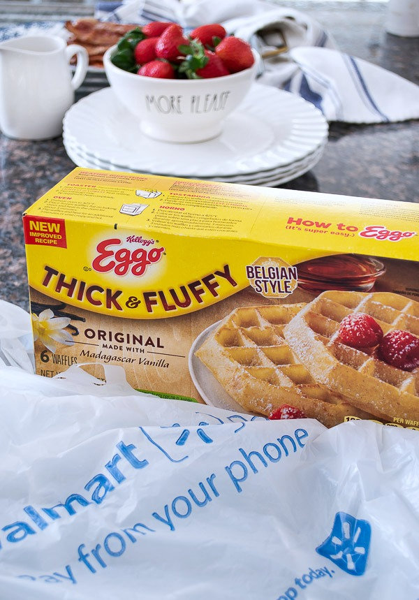 Eggo Thick & Fluffy Waffles from Walmart are the base of this yummy dinner!