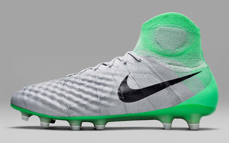 This image shows the grey and green Nike Magista Obra 2 soccer cleats from  the women s Nike Radiation Flare pack. 87bc76a0c