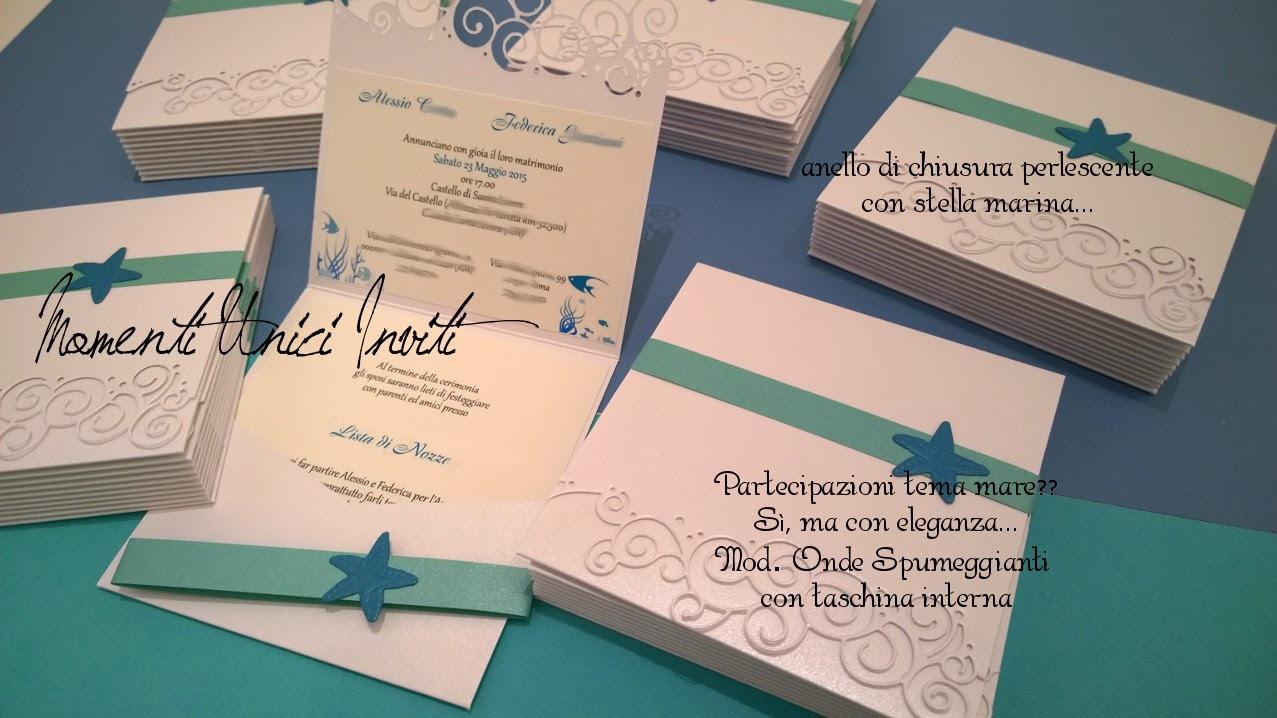 onde Mod. Onde Spumeggianti con taschina internaColore Ottanio Colore Tiffany Partecipazioni intagliate Partecipazioni Pocket Tema mare