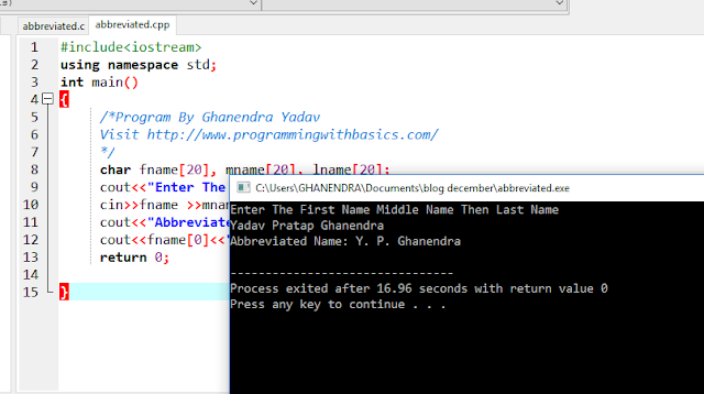 C++ Program to Convert a person's name in Abbreviated