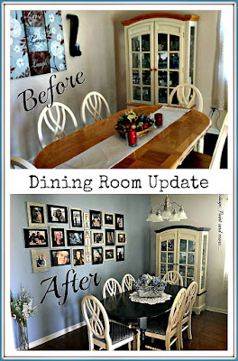 Vintage,Paint and more... a beach themed dining room diy'd into a beautiful vintage looking room with a black chalk painted table, white chairs with upholstered seats, an elegant china cabinet and an amazing gallery wall all done on a budget