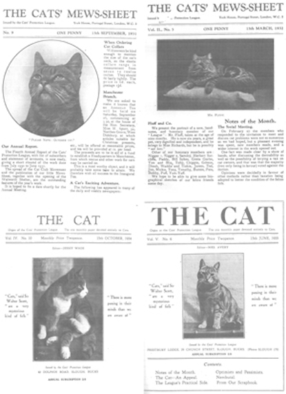 Covers of The Cats' Mews-sheet and The Cat magazine from 1930s