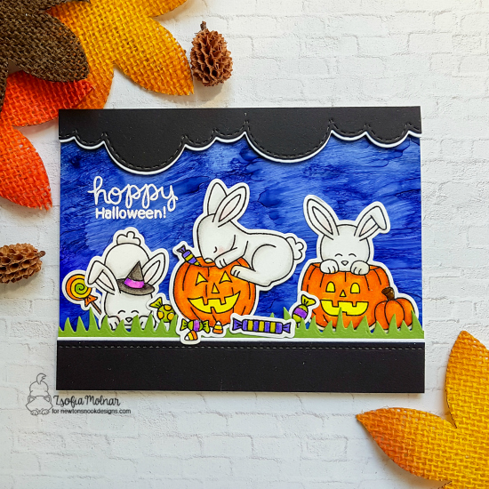 Bunny Halloween Card by Zsofia Molnar | Hoppy Halloween Stamp Set by Newton's Nook Designs #newtonsnook #handmade #halloween