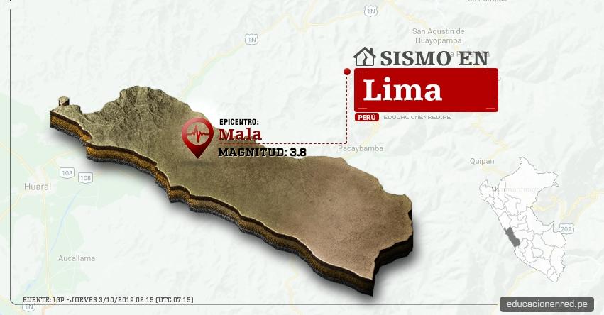 Temblor en Lima de Magnitud 3.8 (Hoy Jueves 3 Octubre 2019) Sismo - Epicentro - Mala - Cañete - IGP - www.igp.gob.pe