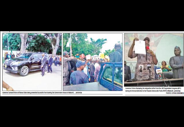 Drama as Ortom dumps APC, returns to PDP