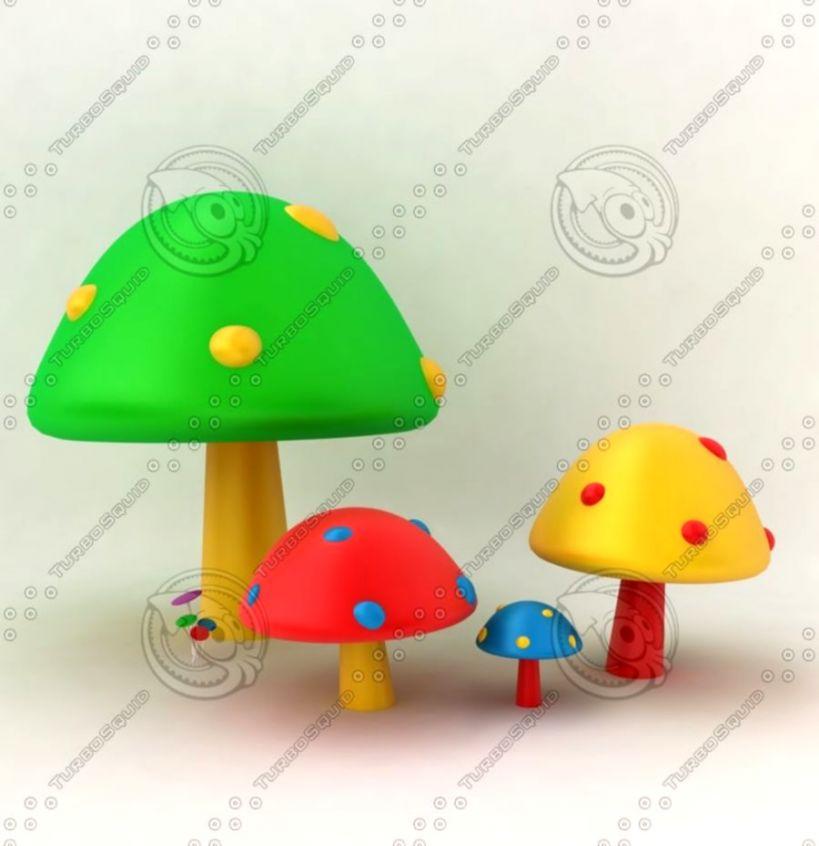 3D Colorful Mushrooms