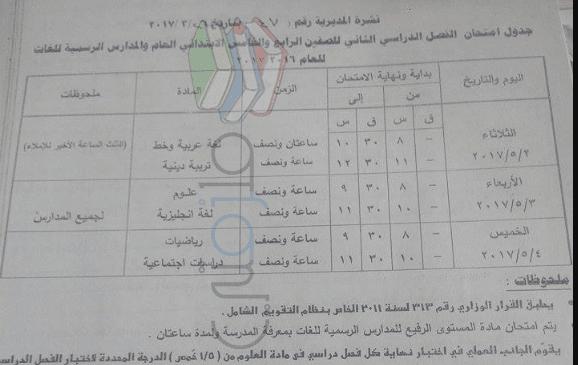 جدول امتحانات الصف الخامس الابتدائي 2017 الترم الثاني محافظة قنا