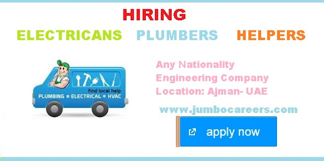 Latest Job Vacancies For Electricians Plumbers And Helpers In UAE