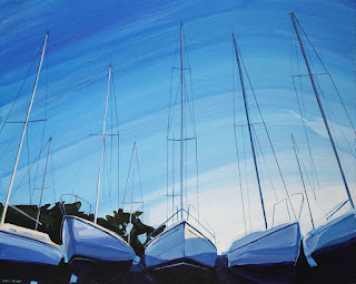 An acrylic painting of sailboats at a boatyard in buffalo ny