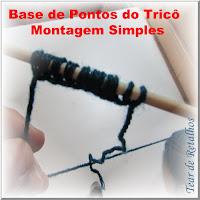Foto mostrando uma base de pontos de tricô feito pelo método da Montagem Simples (Single Cast on)