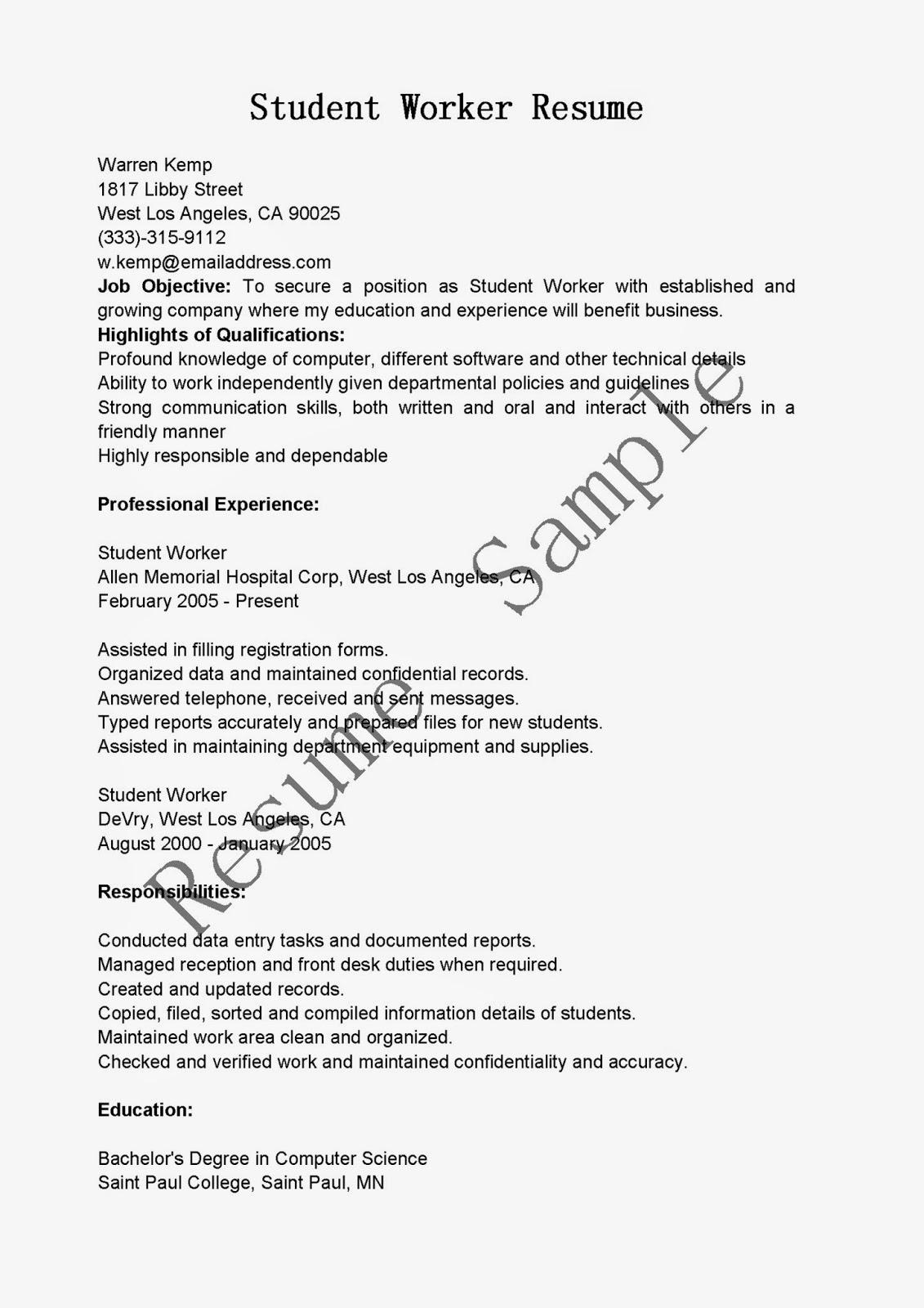 Resume Samples Student Worker Resume Sample